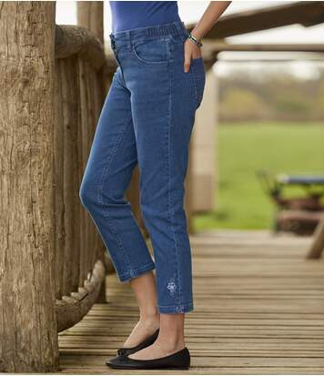 7/8-Stretch-Jeans mit Stickerei