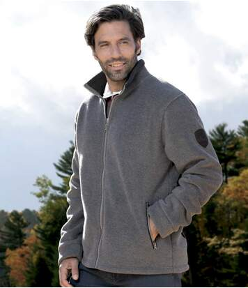 Men's Grey Sherpa-Lined Fleece Jacket