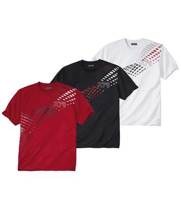 Pack of 3 Men's Summer Sports T-Shirts - Black White Red