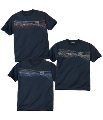 Pack of 3 Men's Sports Print T-Shirts - Navy