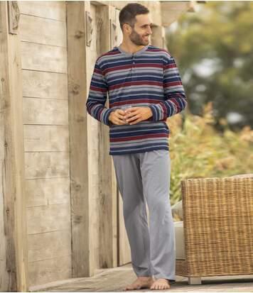 Men's Striped Cotton Pyjamas - Blue Red Grey