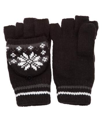 Ladies/Womens Patterned Capped Fingerless Winter Gloves (Black/Grey) - UTGL248