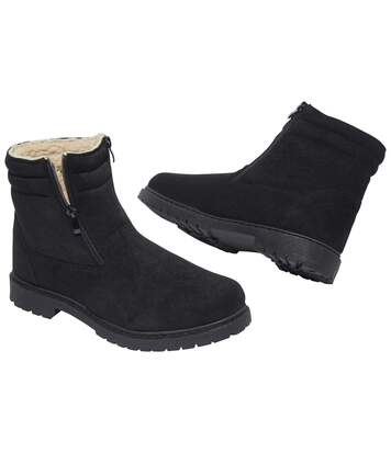 Men's Black Sherpa-Lined Boots