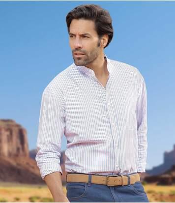 Рубашка с Воротником-стойкой из Хлопка от Atlas For Men