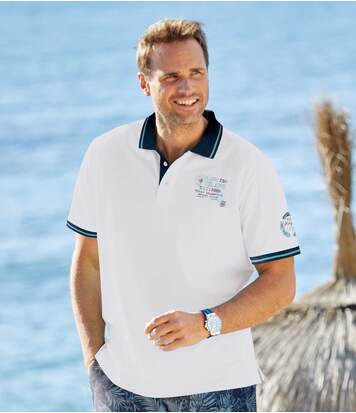 Men's White Sailing Club Polo Shirt