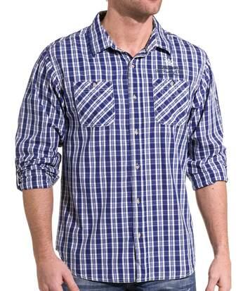 Chemise homme bleu royal à carreaux