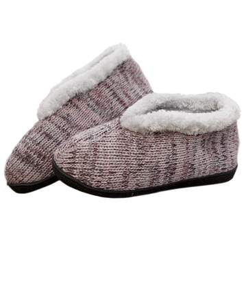 Women's Pink Knitted Slippers with Faux Fur Lining