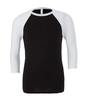 Canvas Mens 3/4 Sleeve Baseball T-Shirt (Black/White) - UTBC1332