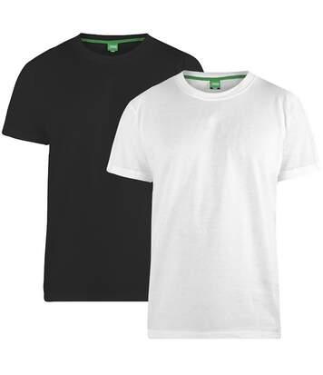 Duke Mens Fenton Kingsize D555 Round Neck T-shirts (Pack Of 2) (Black/White) - UTDC209