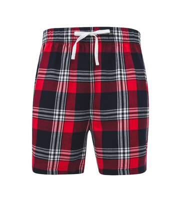 Skinni Fit Mens Tartan Lounge Shorts (Red/Navy Check) - UTRW7322