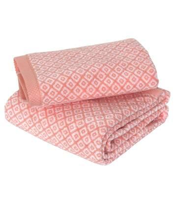 Parure de bain 2 pièces SHIBORI mosaic Orange 100% coton 500 g/m2