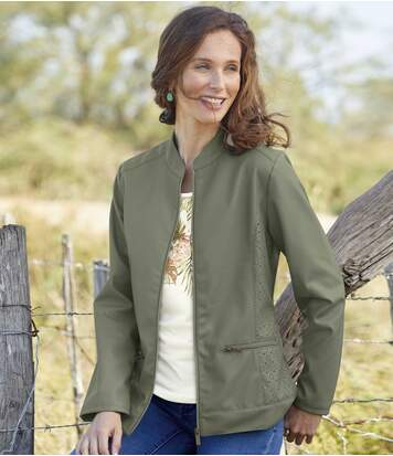 Women's Khaki Faux Leather Jacket - Full Zip
