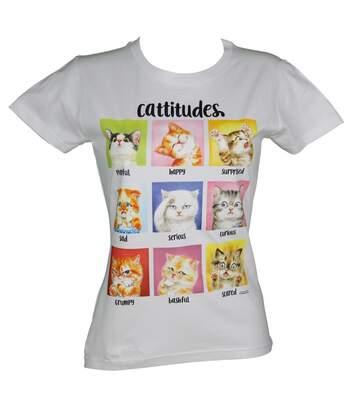 T-shirt femme manches courtes - Chat Cattitudes 10388 - blanc