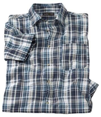 Gofrowana koszula w niebieską kratę