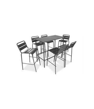 Table haute de jardin en métal et 6 tabourets, Palavas