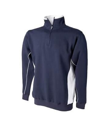 Finden & Hales Mens 1/4 Zip Sweatshirt Top (Black/Red) - UTRW423