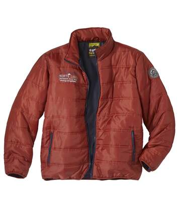 Men's Red Lightweight Puffer Jacket - Water-Repellent - Full Zip