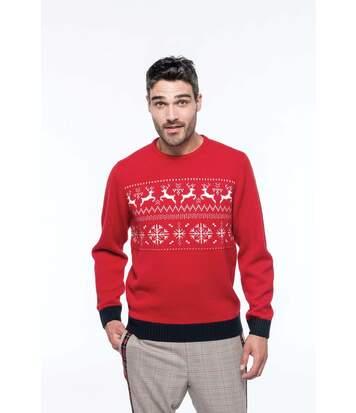 Pull laine motif rennes - homme - K998 - rouge