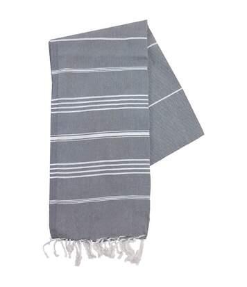 Serviette de plage - fouta - hammam - T1-HAM - gris anthracite et blanc