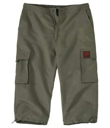 Men's Khaki Cropped Cargo Trousers