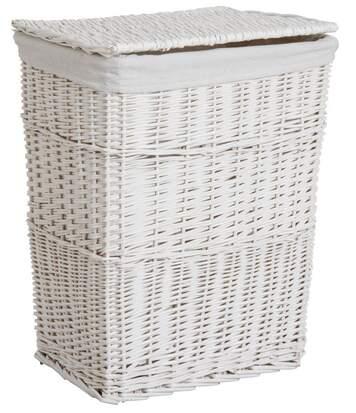 Panier à linge en osier laqué blanc 46 x 34 x 60 cm