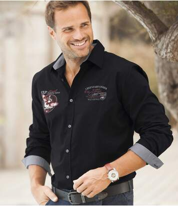 Men's Black Long Sleeve Poplin Shirt