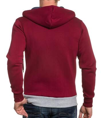 Sweat homme zippé rouge et gris à capuche fashion