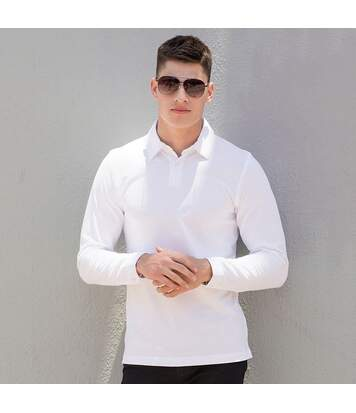 Skinni Fit Mens Long Sleeve Stretch Polo Shirt (White) - UTRW1399