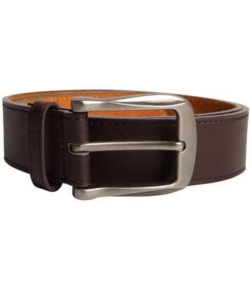 Duke Mens Harrison Large Buckle Leather Belt (Brown) - UTDC120