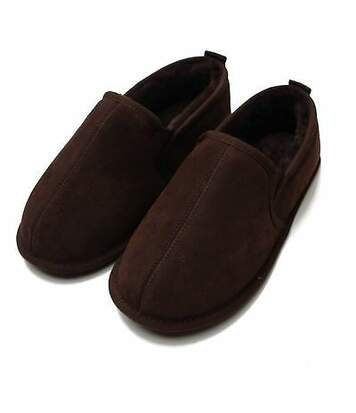 Eastern Counties Leather Mens Sheepskin Lined Soft Suede Sole Slippers (Chocolate) - UTEL162
