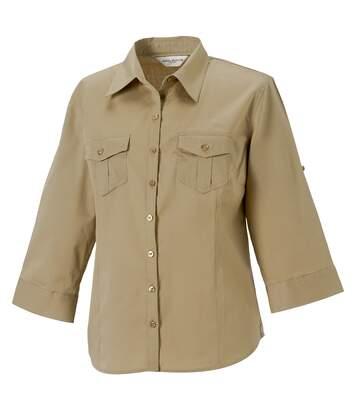 Russell Collection Womens/Ladies Roll-Sleeve 3/4 Sleeve Work Shirt (Khaki) - UTRW3259