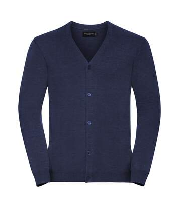 Russell Collection Mens V-neck Knitted Cardigan (French Navy) - UTRW6077