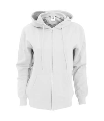 Sg - Sweatshirt Uni À Capuche Et Fermeture Zippée - Femme (Blanc) - UTBC1076