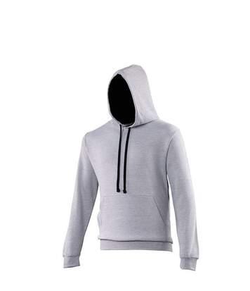 Sweat à capuche contrastée unisexe - JH003 - gris clair et noir