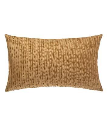 Coussin design en velours plissé Poésie - L. 50 x l. 30 cm - Jaune ocre