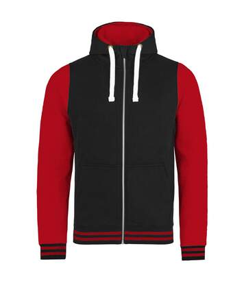 AWDis Just Hoods Adults Unisex Urban Varsity Full Zip Hoodie (Jet Black/Arctic White) - UTRW3938