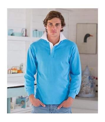 Front Row - Polo De Rugby À Manches Longues 100% Coton - Homme (Bleu surf/Blanc) - UTRW478