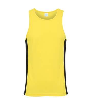 AWDis Just Cool Mens Contrast Panel Sports Vest Top (Jet Black/Fire Red) - UTRW3476