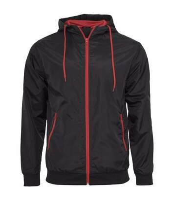 Build Your Brand Mens Zip Up Wind Runner Jacket (Black/Black) - UTRW5676