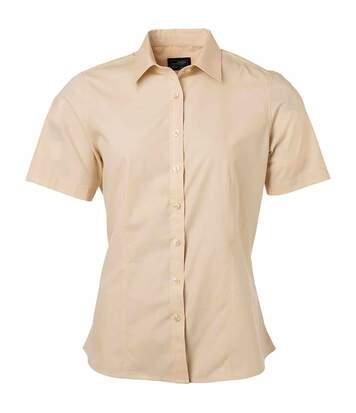 chemise popeline manches courtes - JN679 - femme - beige pierre