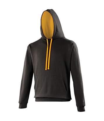 Awdis Varsity Hooded Sweatshirt / Hoodie (Oxford Navy/Sun Yellow) - UTRW165