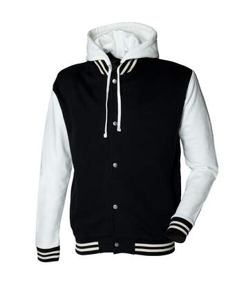 Skinni Fit Mens Heavy Weight Baseball Jacket With Detachable Hood (Black/Off White) - UTRW1395