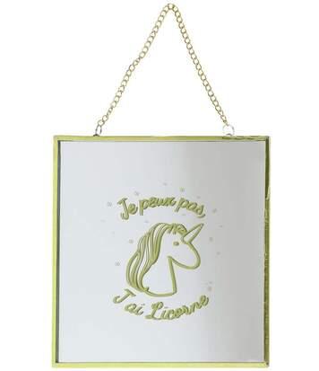 Miroir carré avec chainette licorne