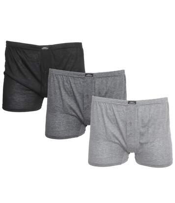 Tom Franks Mens Plain Jersey Boxer Shorts (3 Pairs) (Black/Grey) - UTUT557