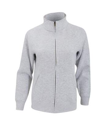 Fruit Of The Loom Ladies/Womens Lady-Fit Fleece Sweatshirt Jacket (Heather Grey) - UTBC1371