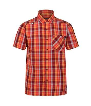 Regatta Mens Kalambo V Short Sleeved Checked Shirt (Delhi Red) - UTRG4929