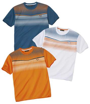 Pack of 3 Men's Print Sports T-Shirts - White Blue Orange