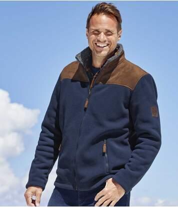 Men's Navy Sherpa-Lined Fleece Jacket - Full Zip