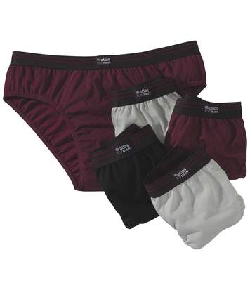 Pack of 5 Men's Comfort Briefs - Black grey Burgundy