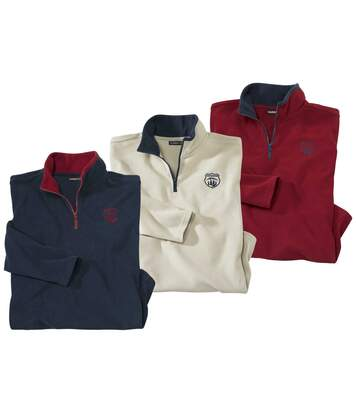Pack of 3 Men's Half Zip Microfleece Jumpers - Navy Red Cream
